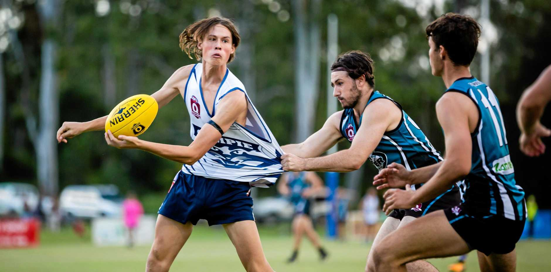 ON THE RISE: Gympie Cat Henry Hamilton (pictured against Bay Power last year) is making great strides in the seniors.