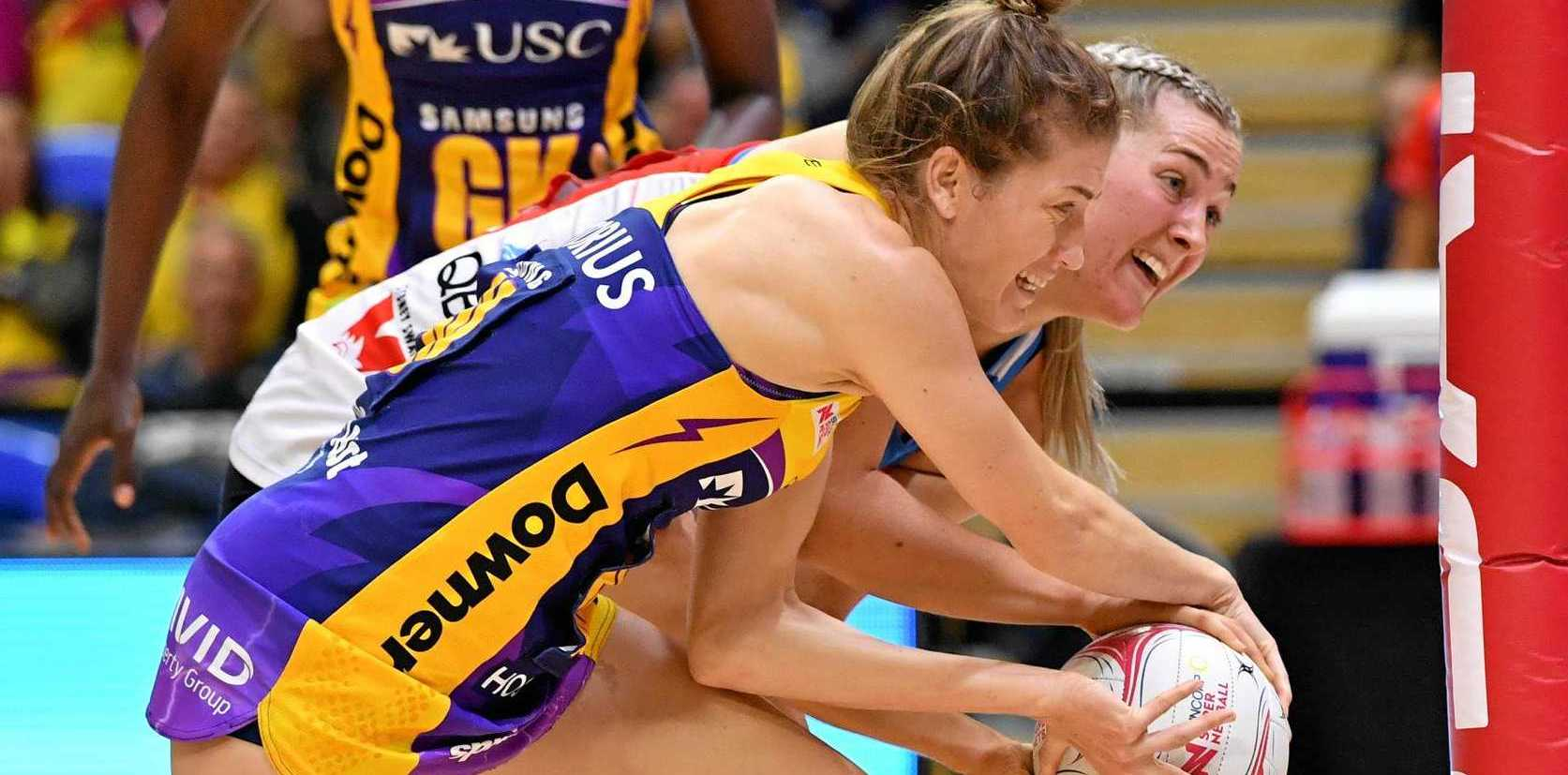 BIG GAME: Karla Pretorius of the Lightning against the Swifts at USC Stadium on Saturday.