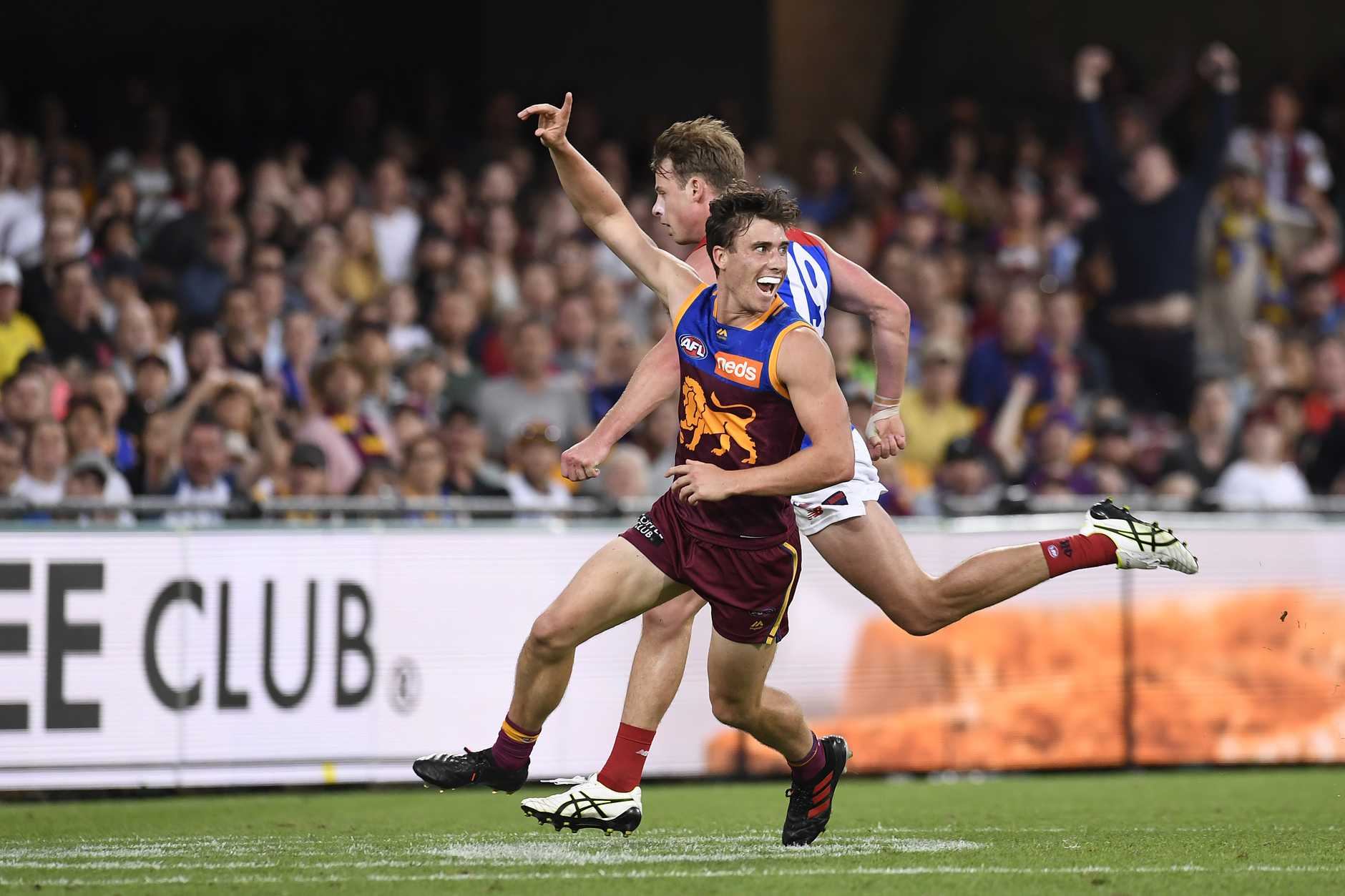 Noah Answerth celebrates kicking one of his two AFL goals.