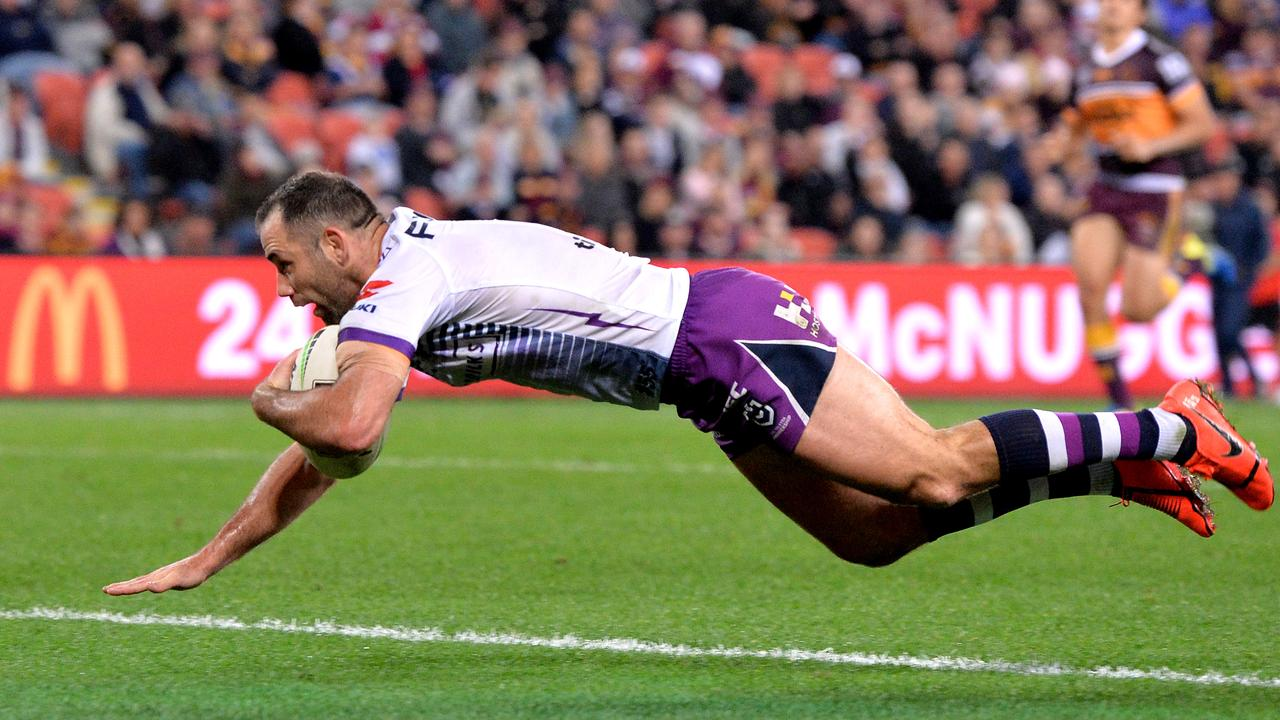 Cameron Smith scored a rare try against the Broncos.