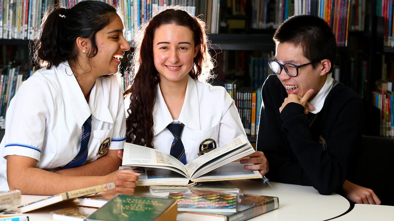 Runcorn State High School Year 11 students Jemimah Hunt, 16, Natalija Bradic 16, and Jerry Zhu, 15, will be part of the first group of Queensland students to sit external exams in almost 50 years. Picture: Adam Head