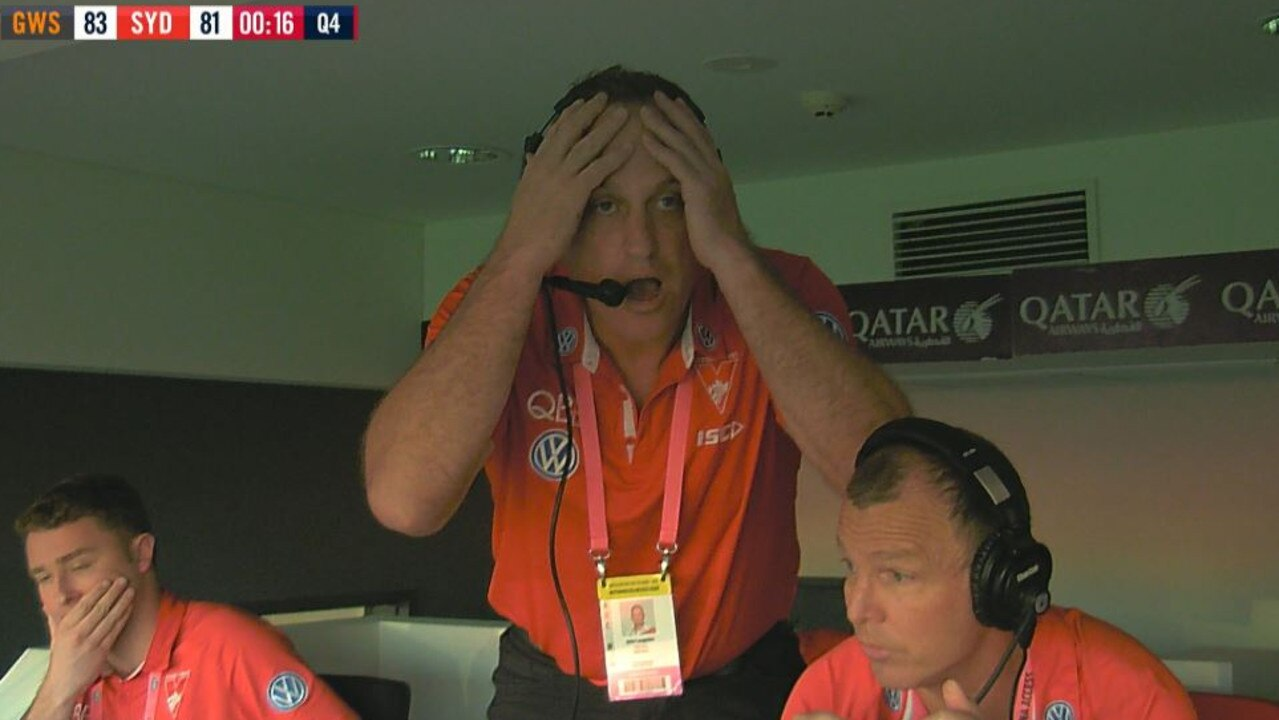 John Longmire reacts to a controversial umpiring decision in the final seconds. Picture: Fox Footy