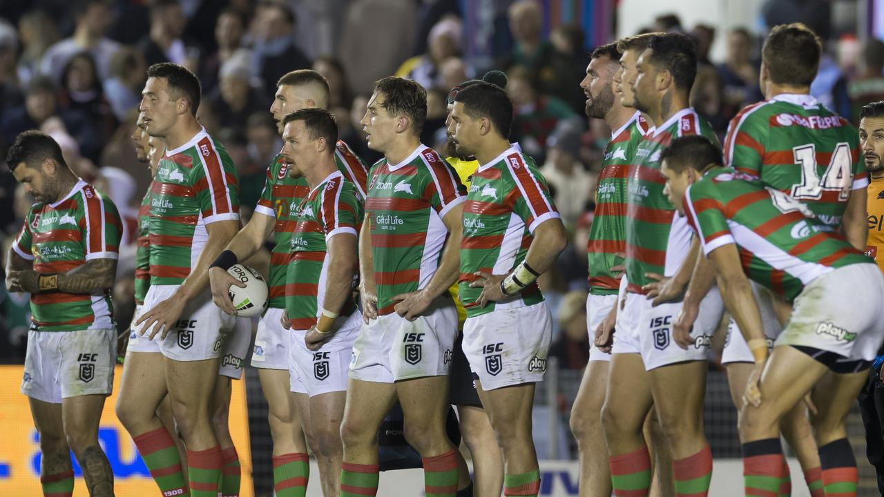 Dejected Bunnies during the Round 20 NRL match between the Cronulla Sharks and the South Sydney Rabbitohs at Pointsbet Stadium in Sydney, Saturday, August 3, 2019. (AAP Image/Craig Golding) NO ARCHIVING, EDITORIAL USE ONLY