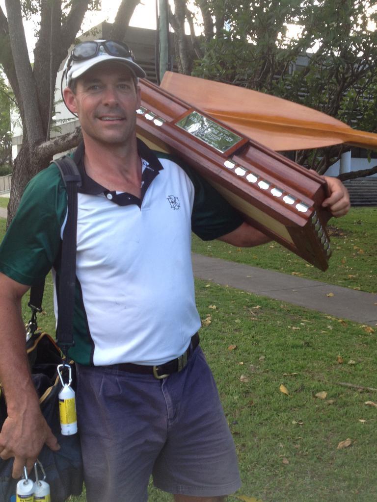 Sacked rowing coach David Bellamy at his old job.