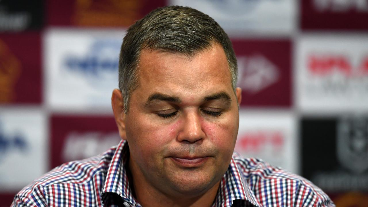 Broncos coach Anthony Seibold was furious after the Storm belting. Picture: Dan Peled