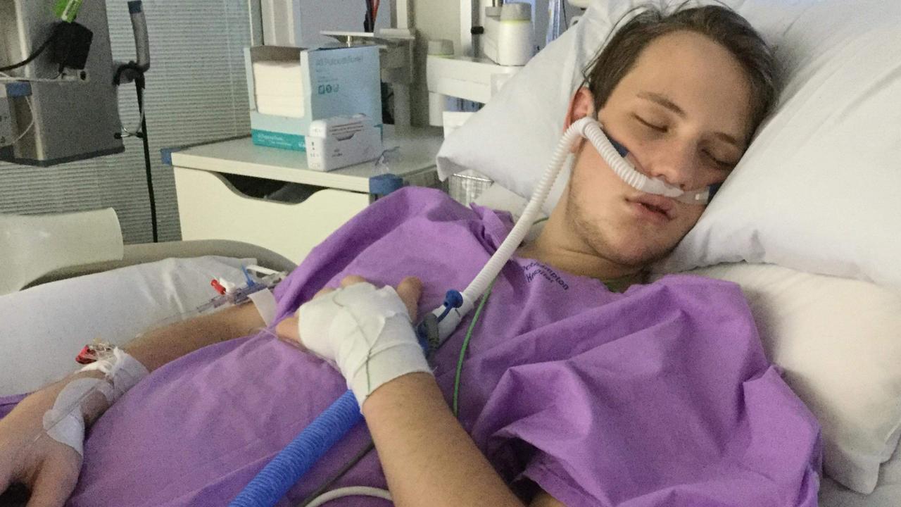 Brady Acutt in hospital.