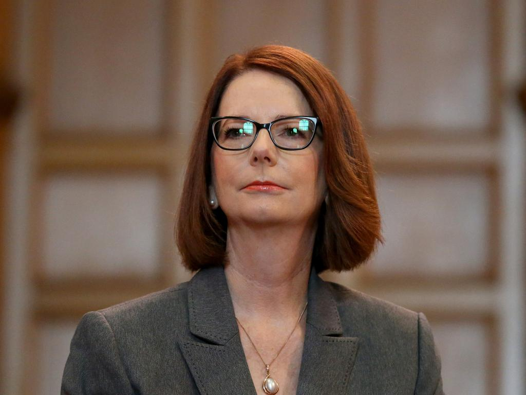"""Looking back on my time in politics, I do wish I'd called out the sexism earlier,"" former Prime Minister Julia Gillard told reporters last year. Picture: Kelly Barnes/The Australian"