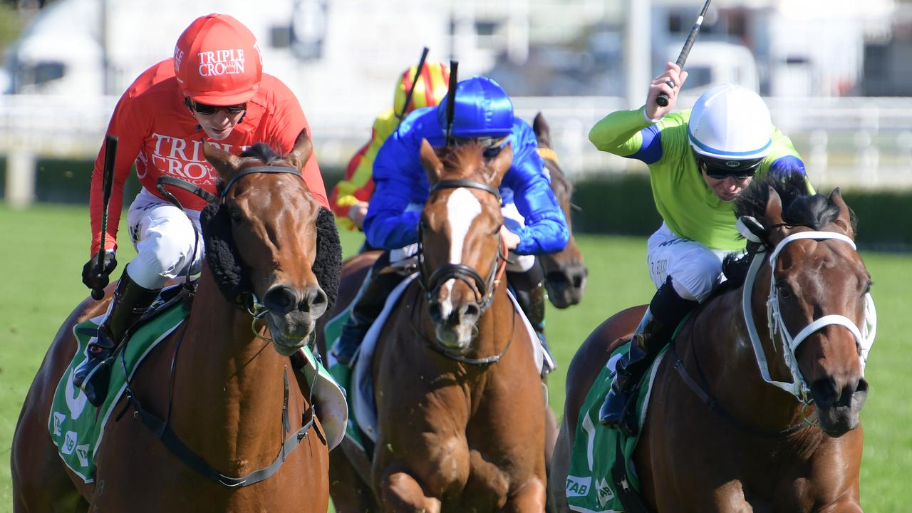 Jockey Kerrin McEvoy (left) was praised for his cool ride on Misteed. Picture: AAP