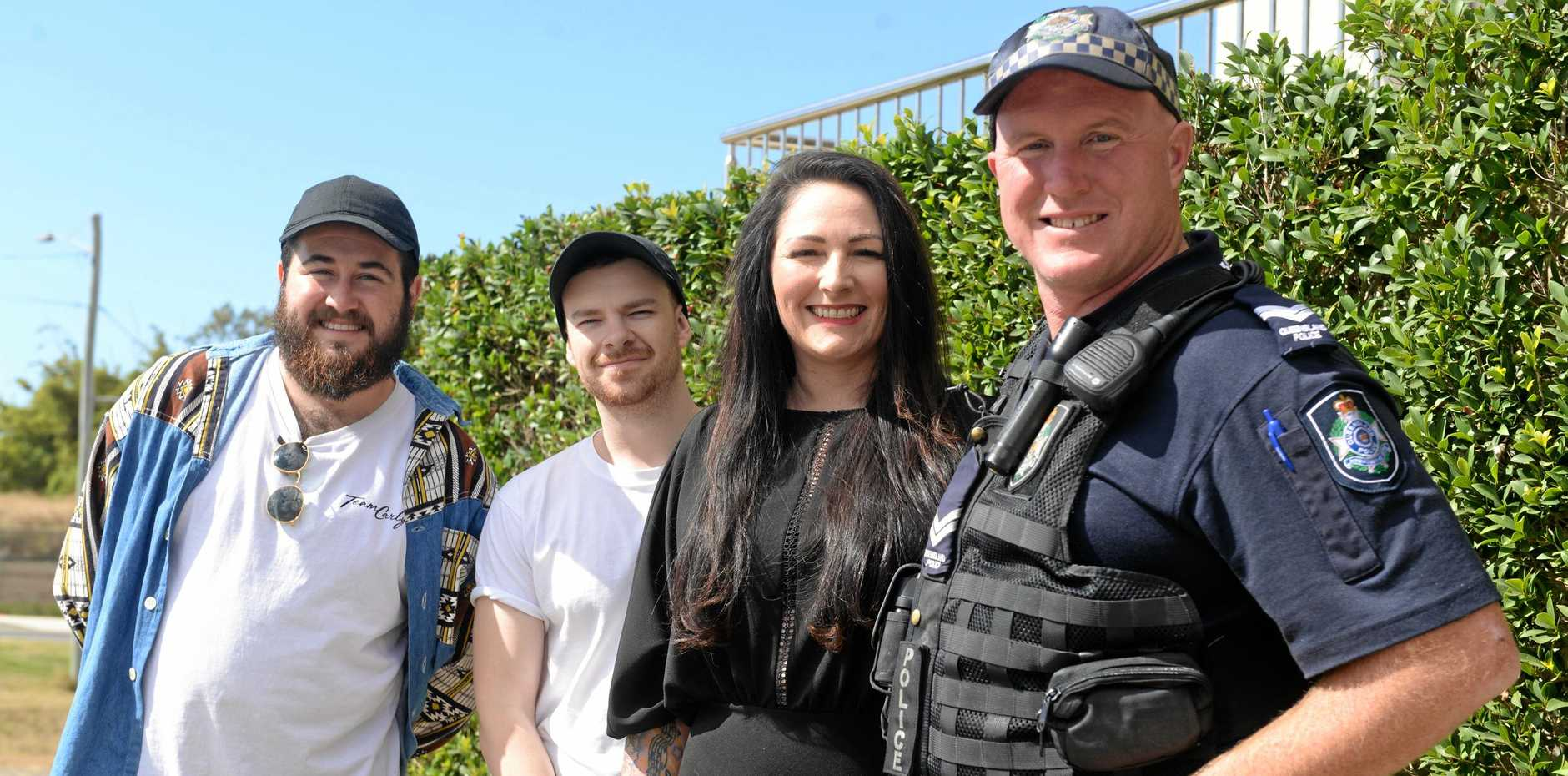 SAFETY FIRST: Zac, Cameron and Sonya Ryan from The Carly Ryan Foundation in Bundaberg with Senior Constable Mick Gray.