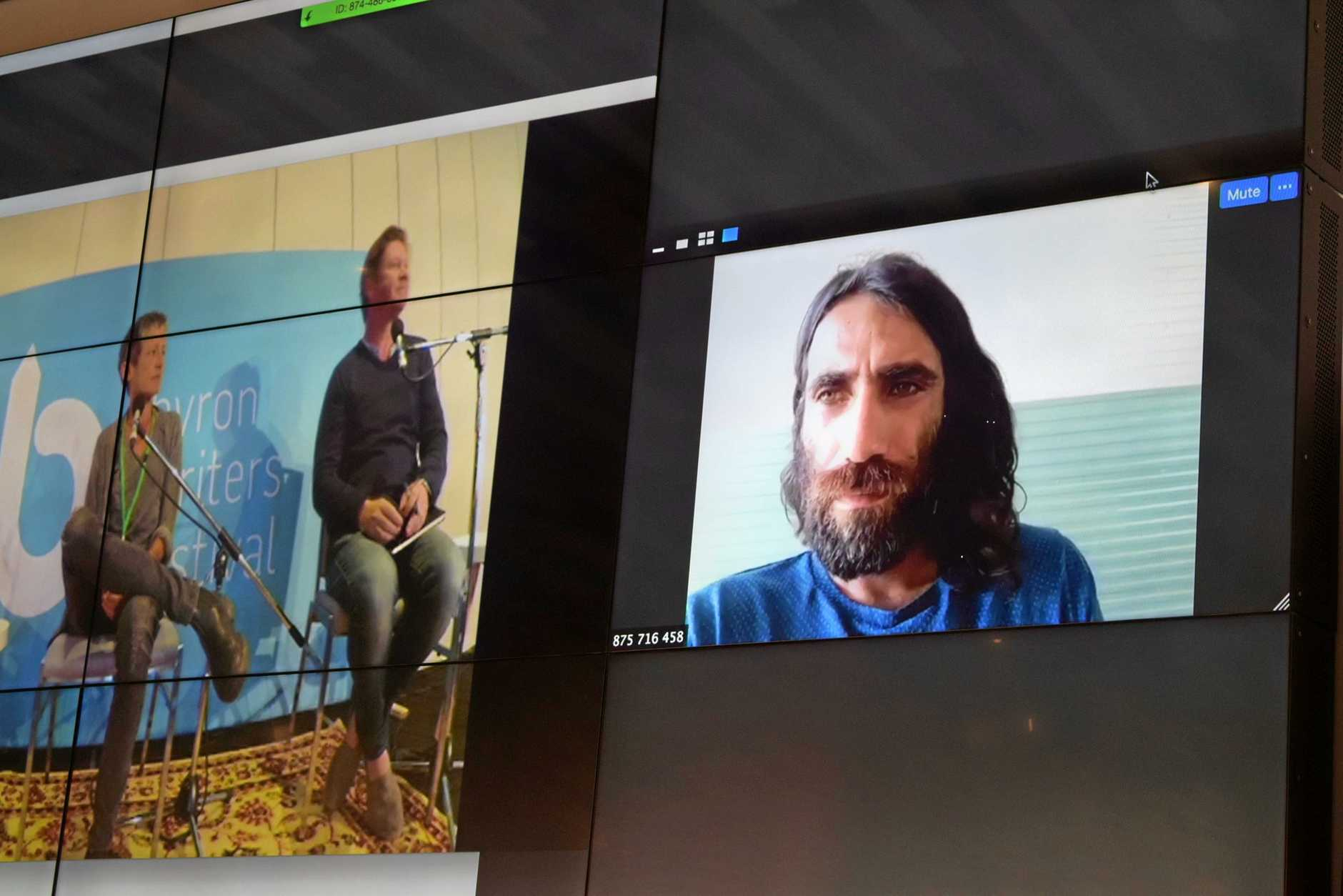 ON A MISSION: Author Behrouz Boochani speaks via video link to a packed Byron Bay Writers Festival audience about his book No Friend But the Mountains: Writing from Manus Prison and his ongoing life in detention.