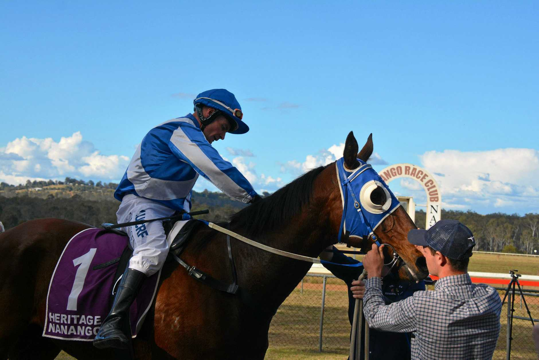 Jockey Jason Missen with Executed after taking out the Nanango Cup Open Race on August 3.