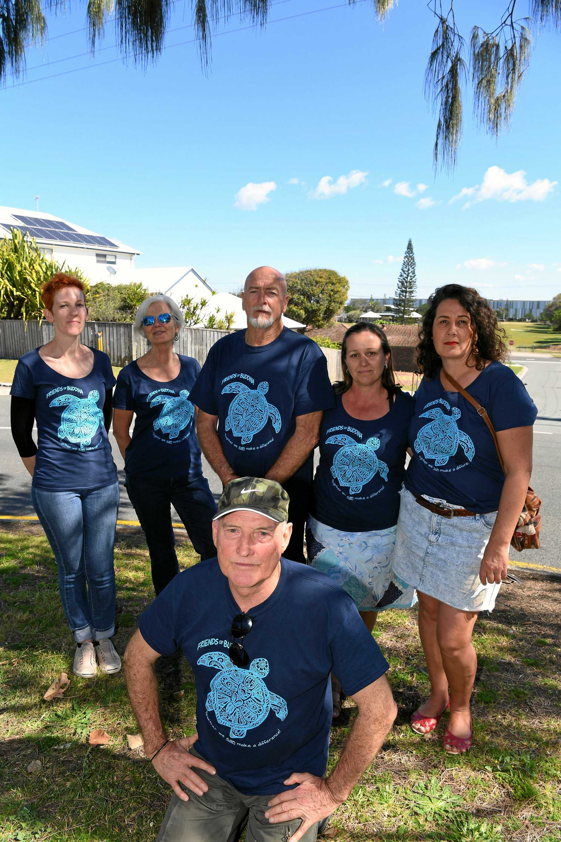 Some Buddina residents are opposed to a highrise develpment planned for the the area.Friends of Buddina spokesman Terry Boyce (front) is pictured with the other members (who don't want to be named in the photo).