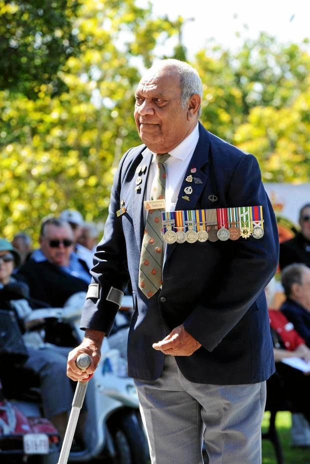 REMEMBERING THEM: Thomas 'Buddy' Lea at an ANZAC Day ceremony wearing his medals.