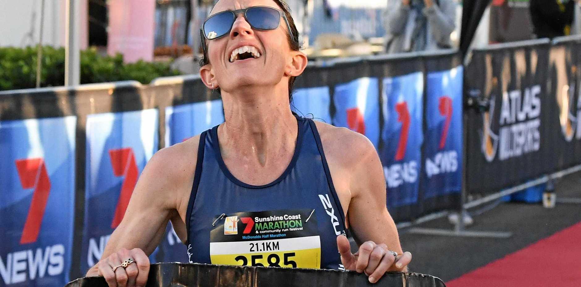7 Sunshine Coast Marathon and Community Run FestivalLisa Weightman wins the women's half marathon.