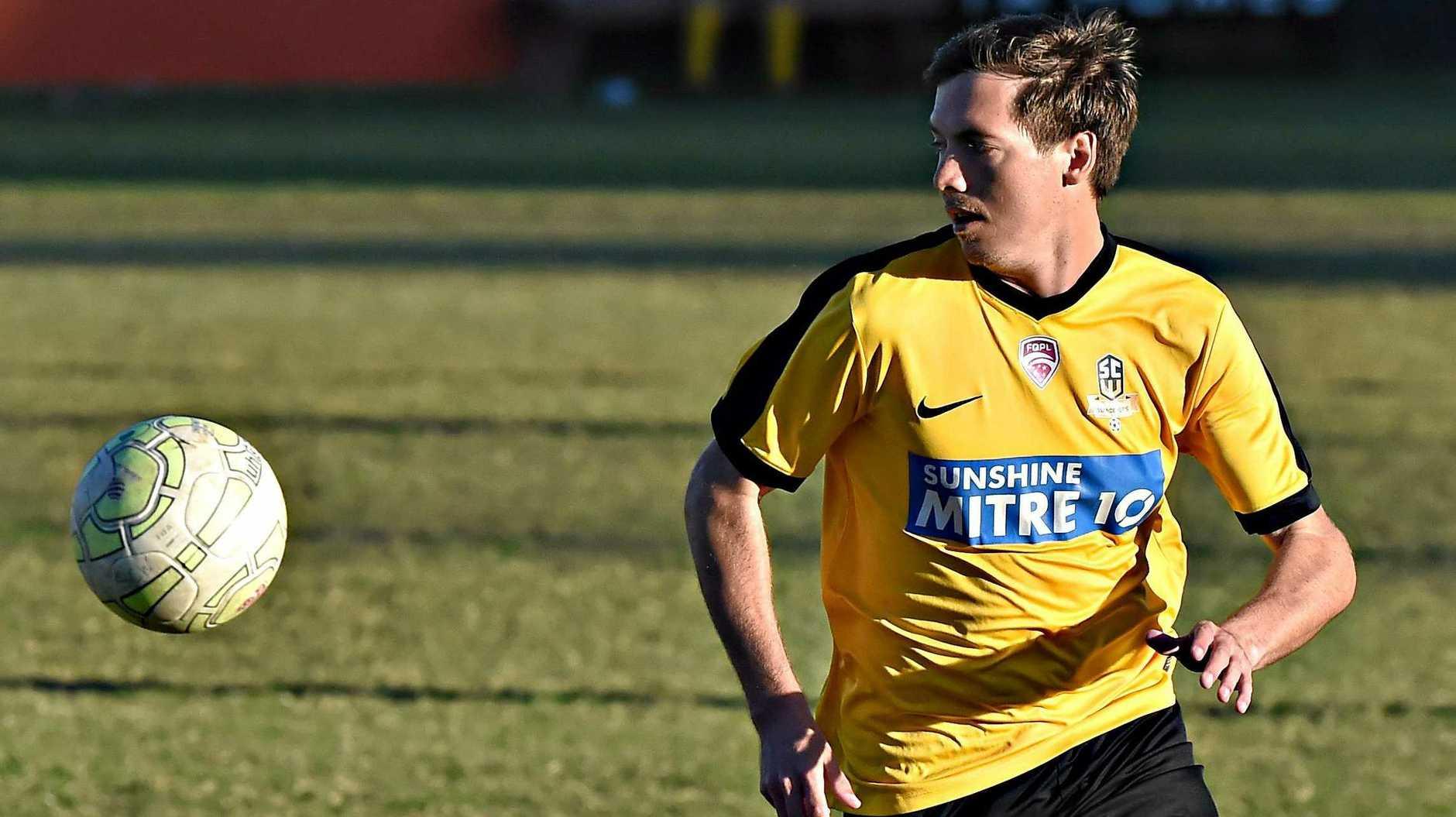 Sunshine Coast Wanderers leading goal scorer Jeremy Stewart on the attack.
