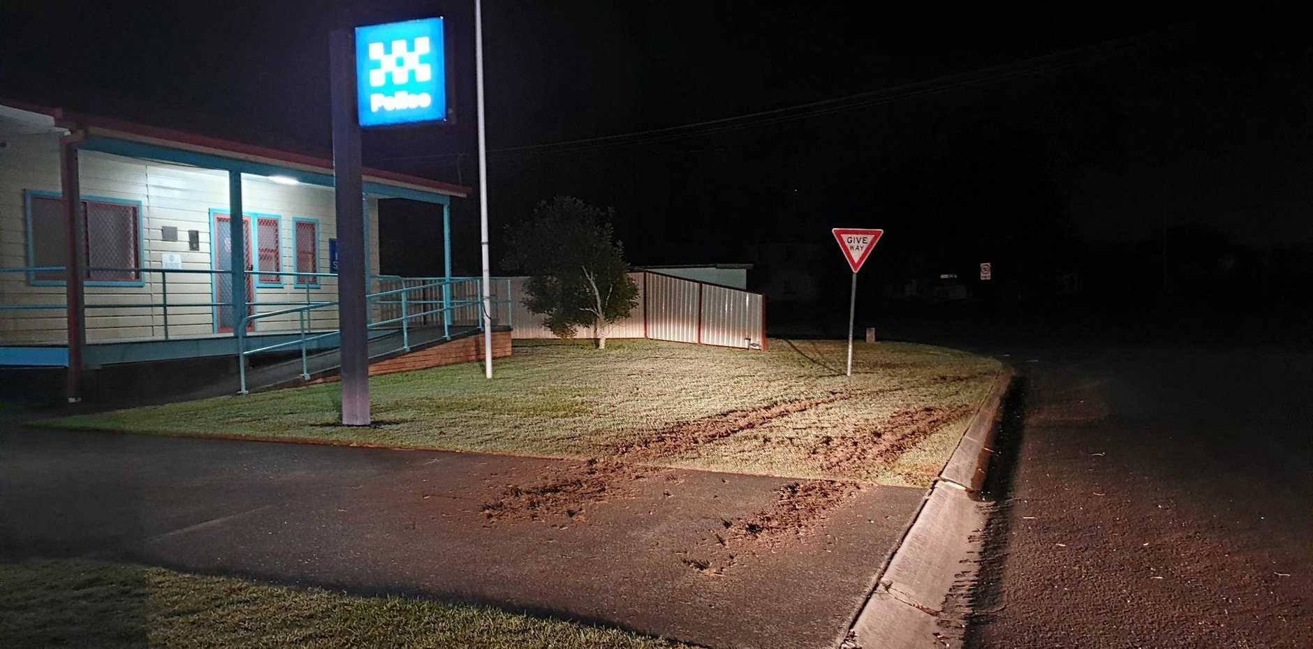 Skidmarks damaging several properties in Wooli including the police station