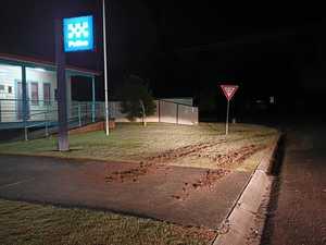 STUPID: Brazen burnout bandits target police station