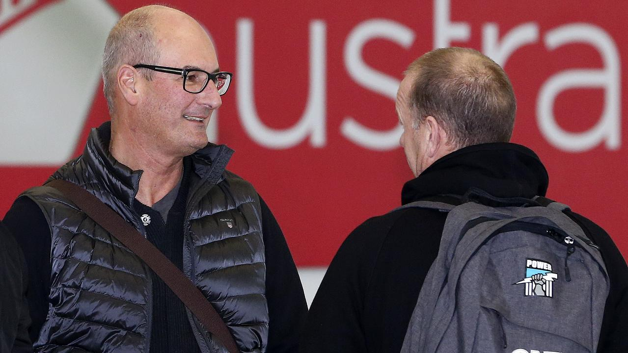 Port Adelaide's David Koch and Ken Hinkley return from Perth after a loss to the Dockers. Picture: Sarah Reed