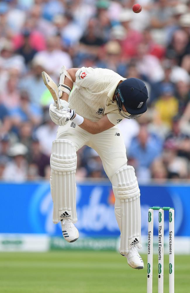 Stuart Broad ducks under a bouncer during his important first-innings knock. Picture: Stu Forster/Getty Images.