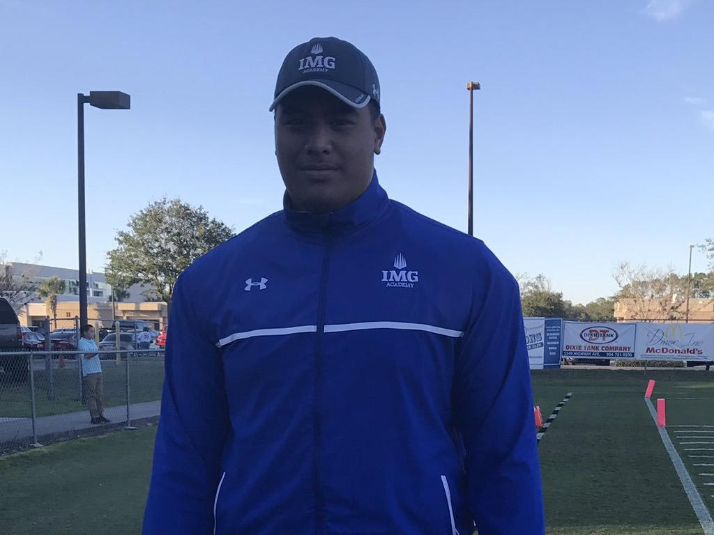 Daniel Faalele at the IMG Academy camp