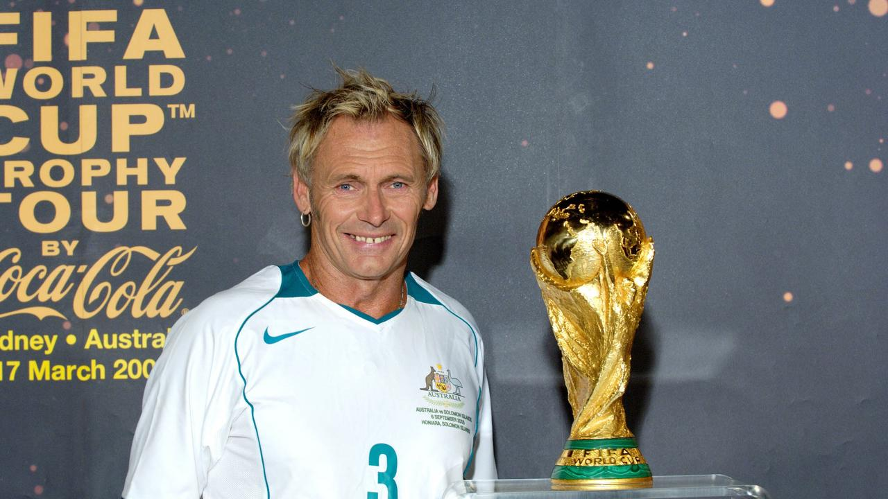 Soccer expert TV radio presenter Damien Lovelock and FIFA World Cup trophy 26 May 2006.