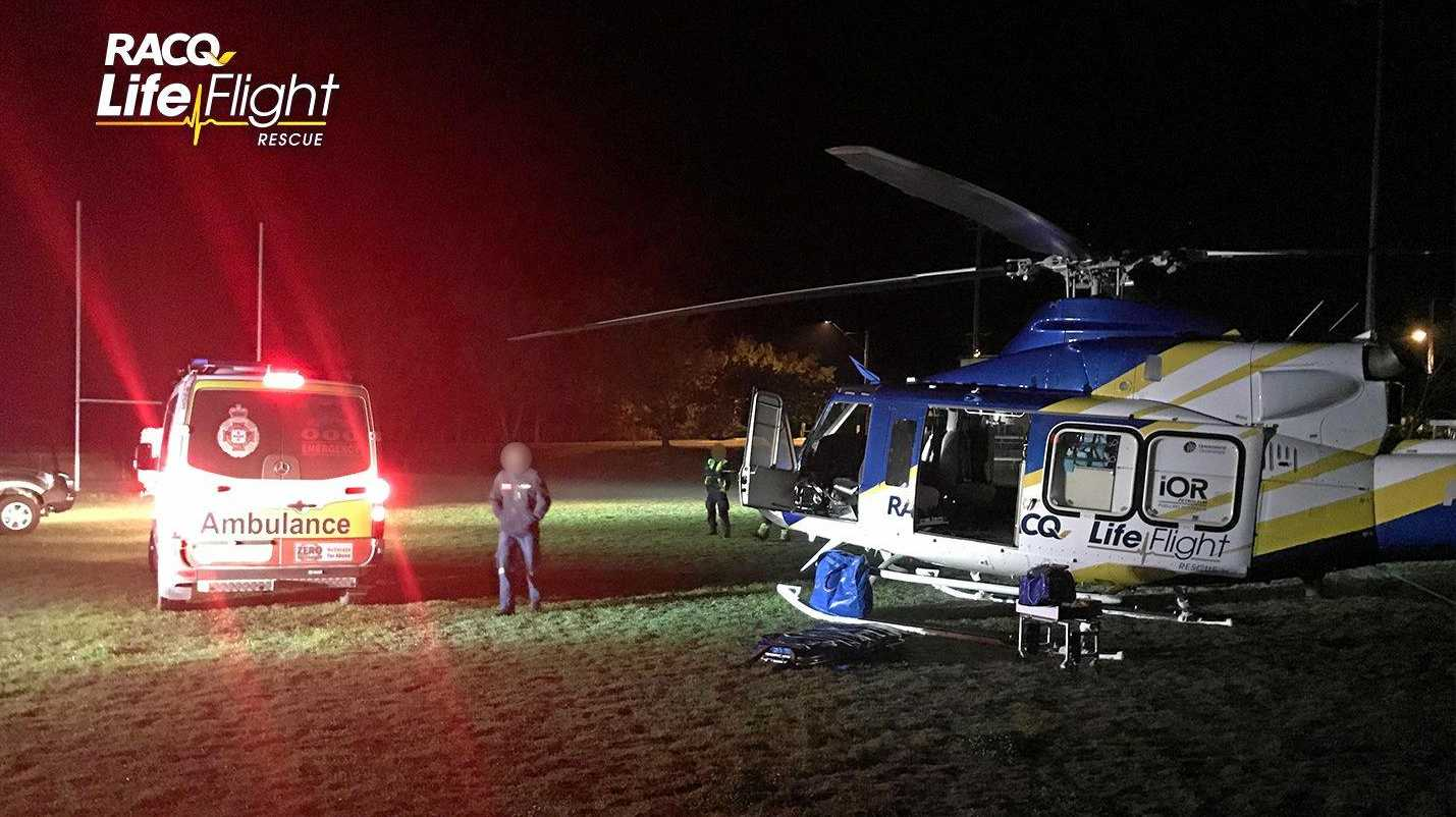 A man in his 30s has been airlifted to hospital after a motorbike crash involving a cow on Sunday night.