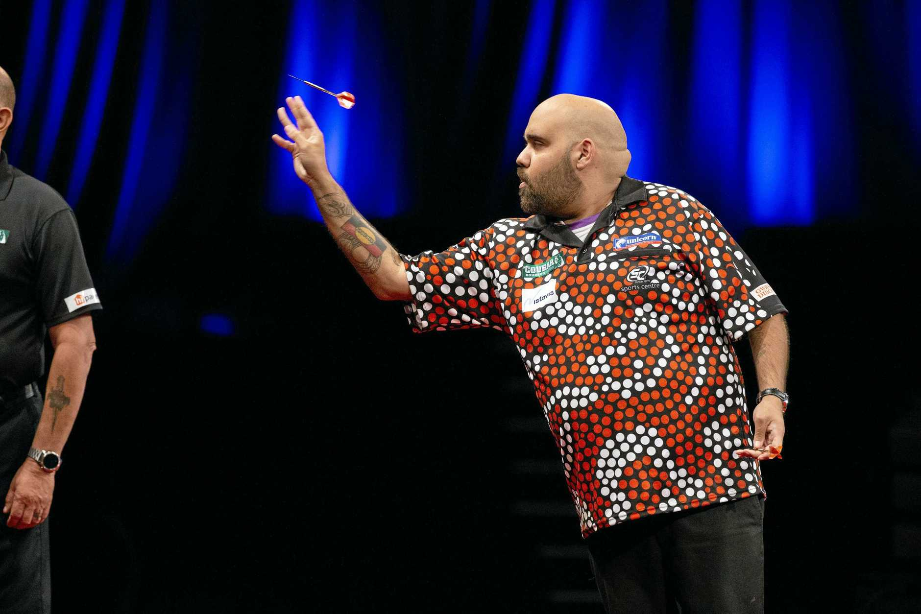 DEADLY: Kyle Anderson in action at the 2018 Brisbane Darts Masters at the Brisbane Convention and Exhibition Centre.