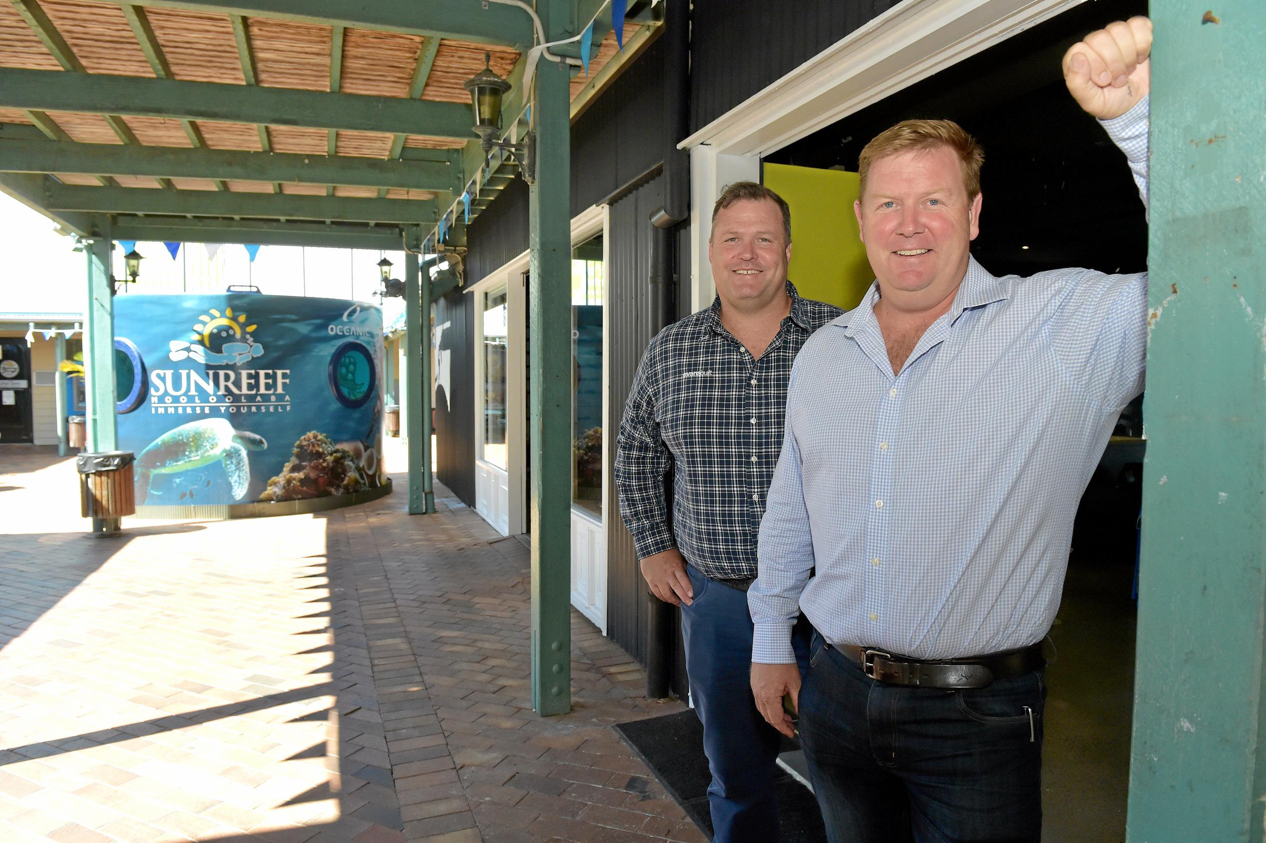 Dirk Long (right) and Matthew Evans have new plans to develop the Wharf complex at Mooloolaba.Photo: Warren Lynam / Sunshine Coast Daily