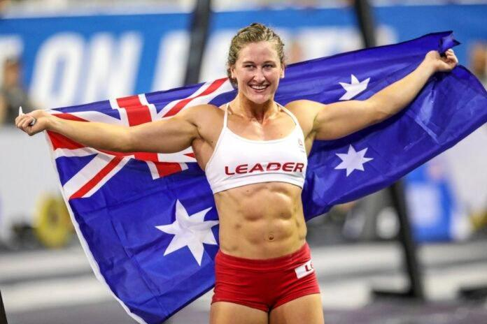 AUSTRALIAN MADE AND FROM GLADSTONE: Tia-Clair Toomey is pure world class as she displays the Aussie flag.