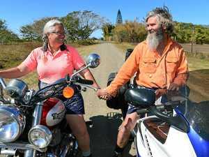 Hearts racing ahead of biker couple's wedding