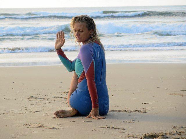 UNWIND: Belle Wehner of Salt Gypsy Surf Yoga.
