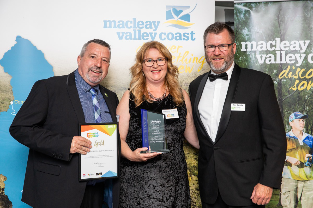 Neil and Heather Manson of The Observatory Holiday Apartments won a Gold Award at the North Coast tourism awards.