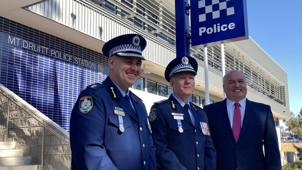 Mt Druitt Police Area Command Superintendent Trent King, NSW Police Commissioner Michael Fuller and police minister David Elliott at the new Mt Druitt Police Station.