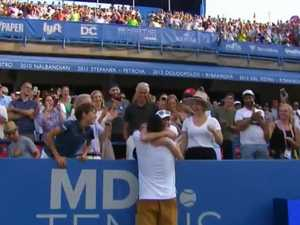 Kyrgios shows softer side in emotional win