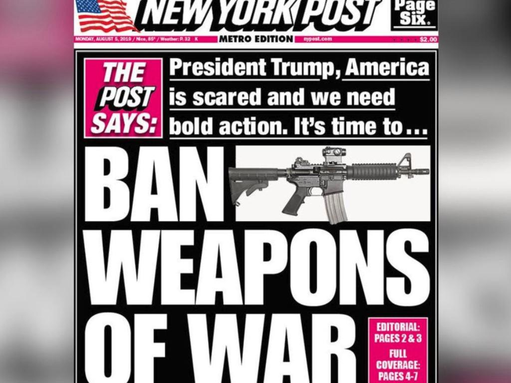 The New York Post has called for a ban on assault weapons.