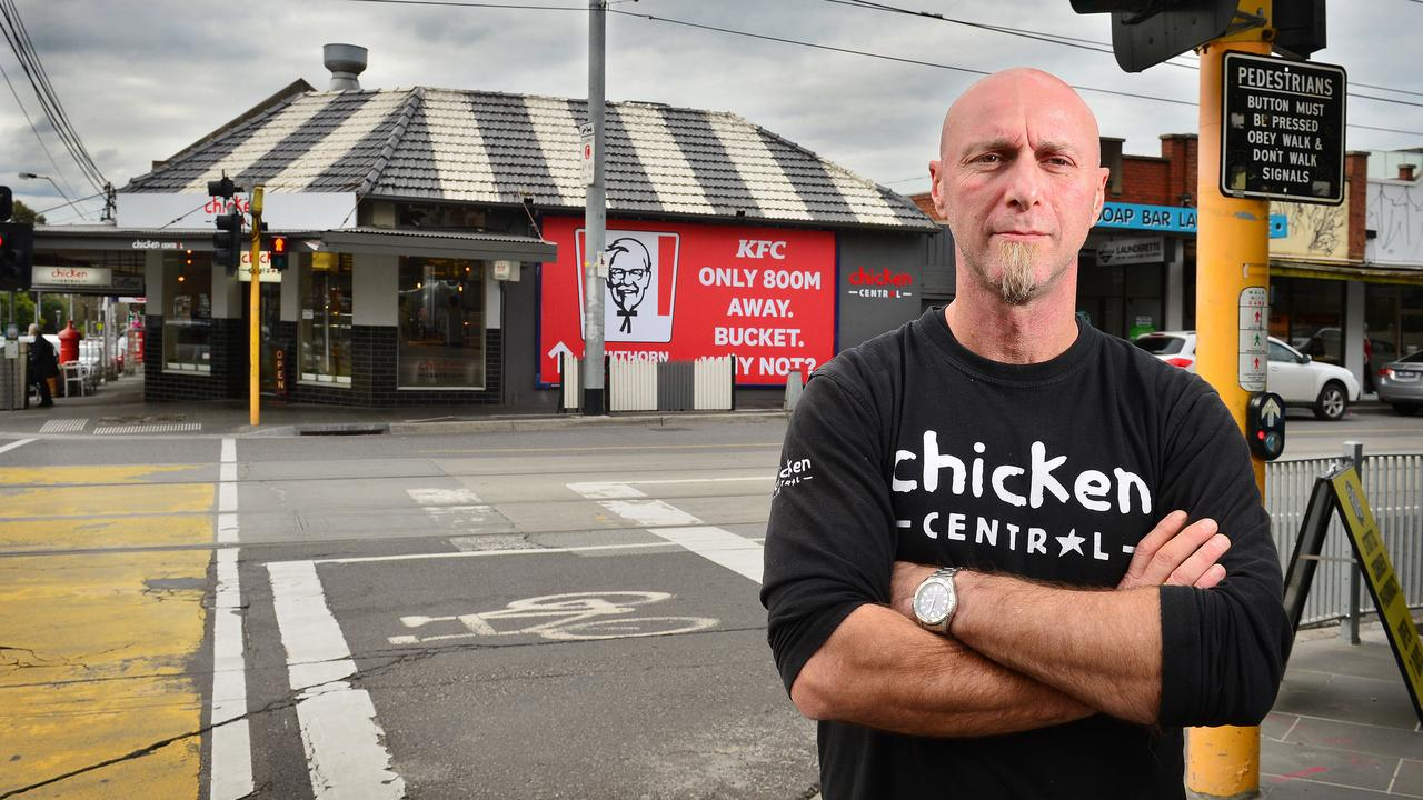 Jim Hally, the owner of a local family run chicken shop Chicken Central, was devastated after KFC whacked a billboard up on his shop. Picture: Nicki Connolly