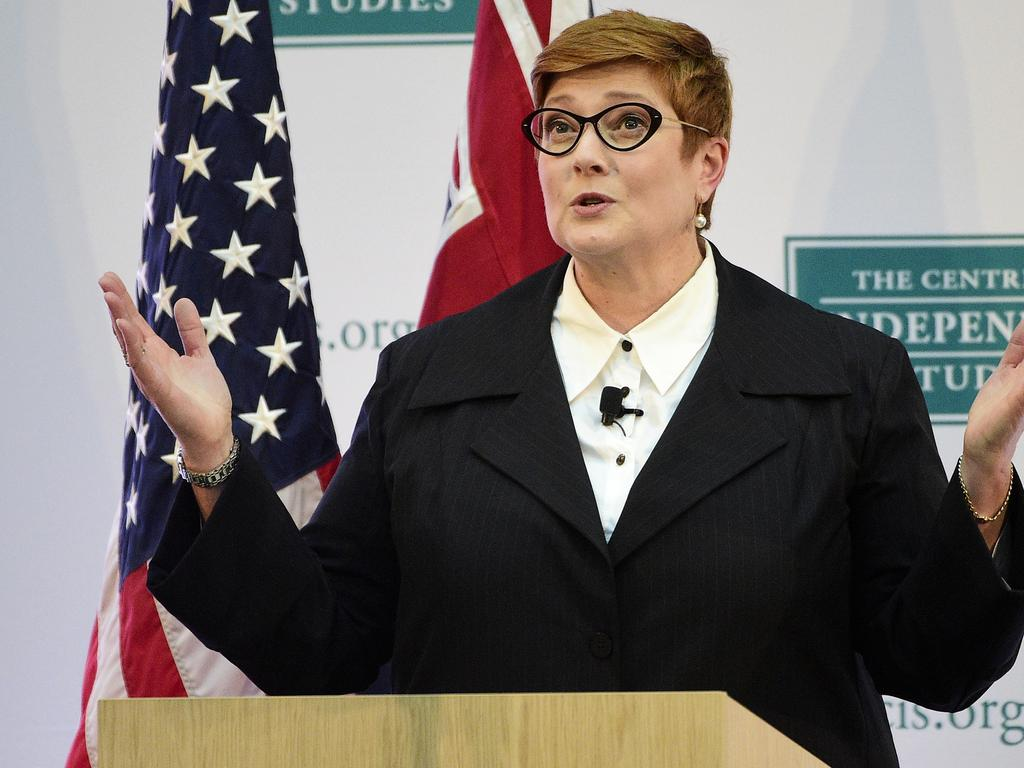 Australian Minister for Foreign Affairs and Women, Senator Marise Payne, during a remarks session with US Secretary of State Mike Pompeo during AUSMIN at The State Library of NSW in Sydney.