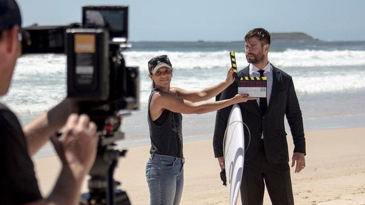 Chris Hemsworth on the set of an ad filmed by Fotomedia at a Northern NSW beach. Photo: Fotomedia