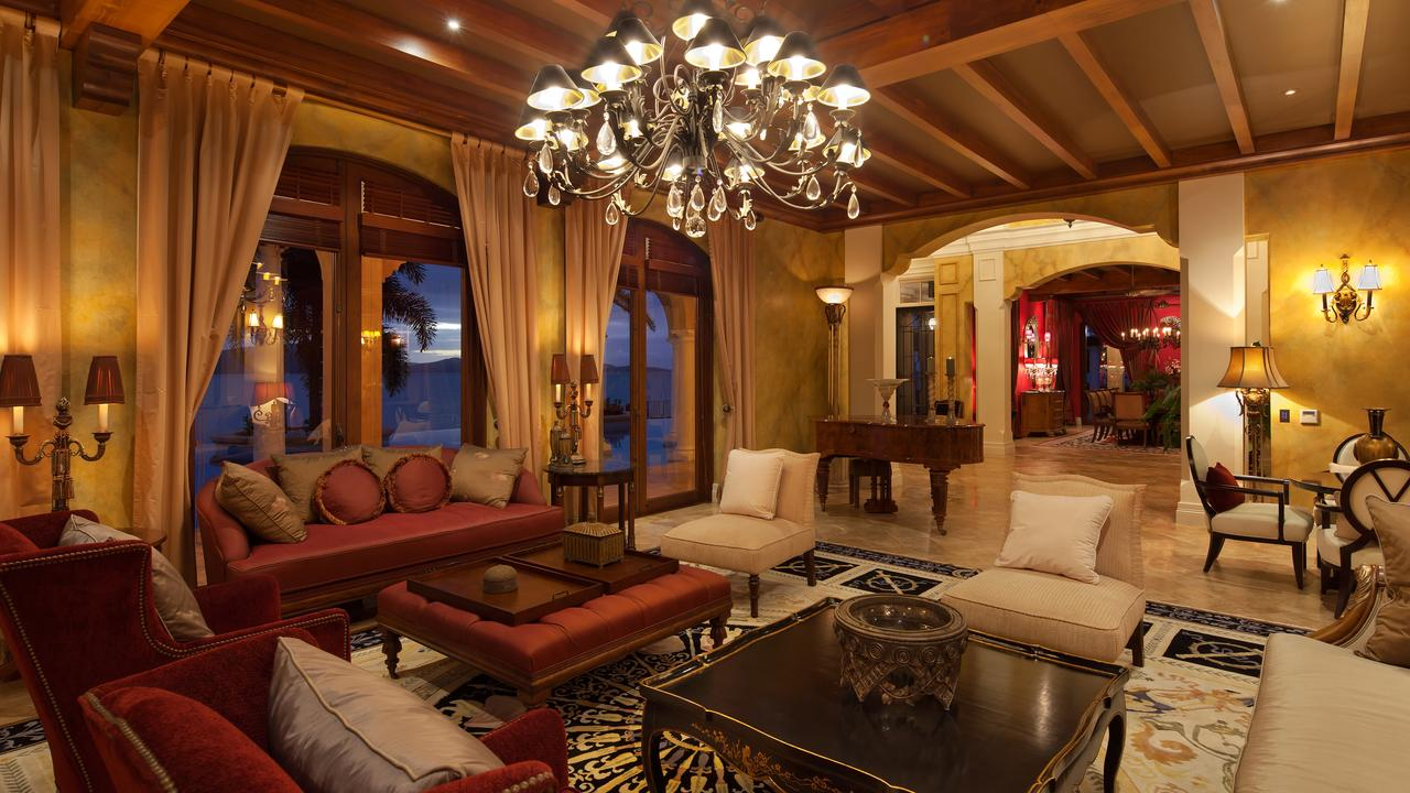 The formal sitting room in Mandalay House is furnished in opulence.