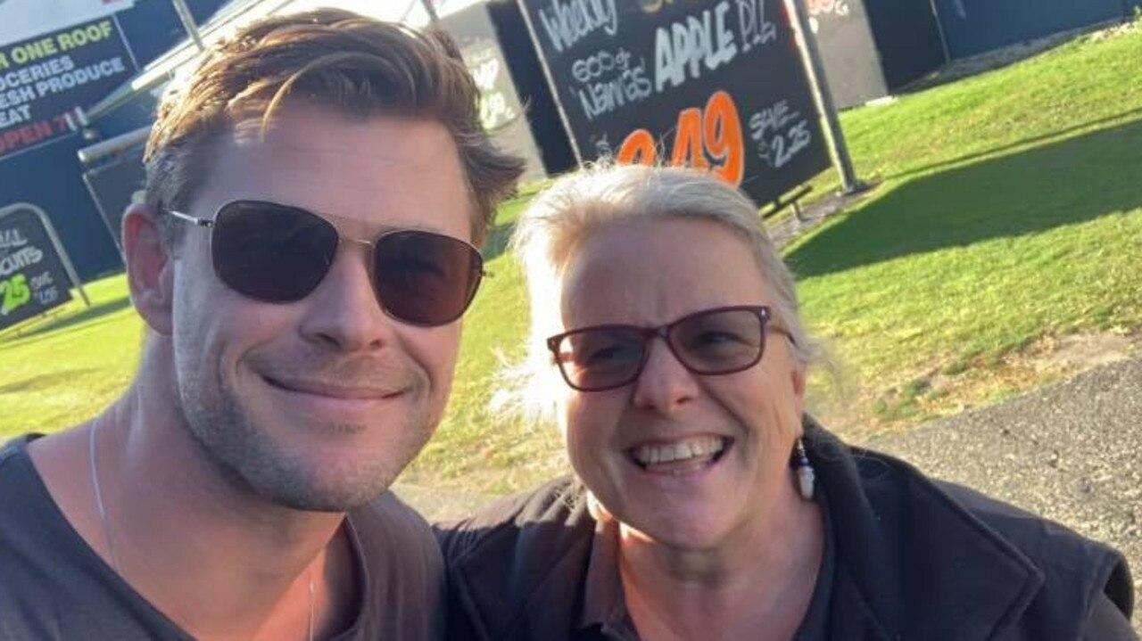 Tugun Super Market owner Marion Hill with Chris Hemsworth yesterday. Photo: Facebook - Tugun Super Market
