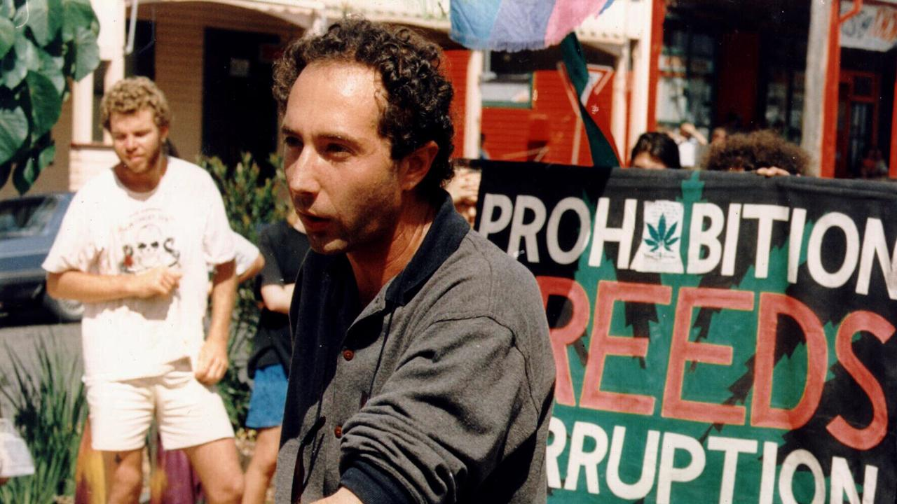 Copy photo of lawyer David Heilpern, an ardent & outspoken advocate of drug law reform and departing head of law & criminal justice at Southern Cross University, during pro Nimbin Hemp protest at Byron Bay,has been appointed to NSW bench, 02/99. Demonstration / Drug