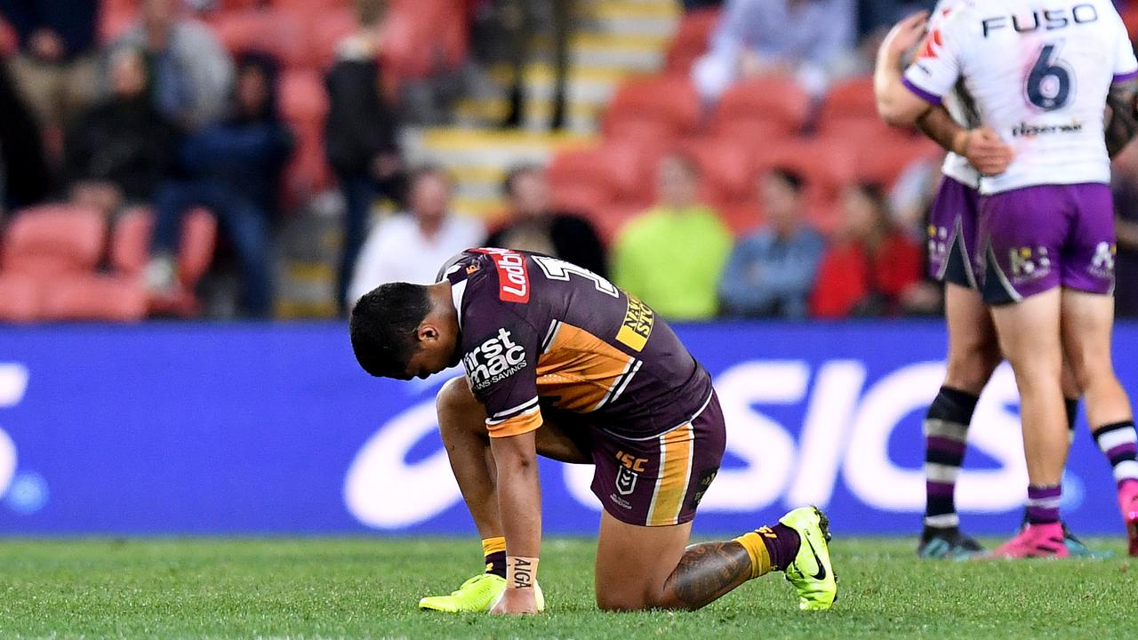 Broncos fullback Anthony Milford during their Round 20 loss to the Storm. Photo: Bradley Kanaris/Getty Images