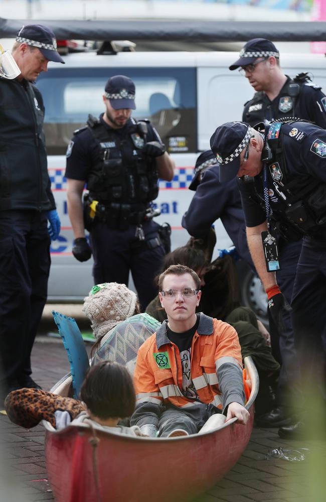Protesters on the Victoria Bridge in June. Pic Annette Dew