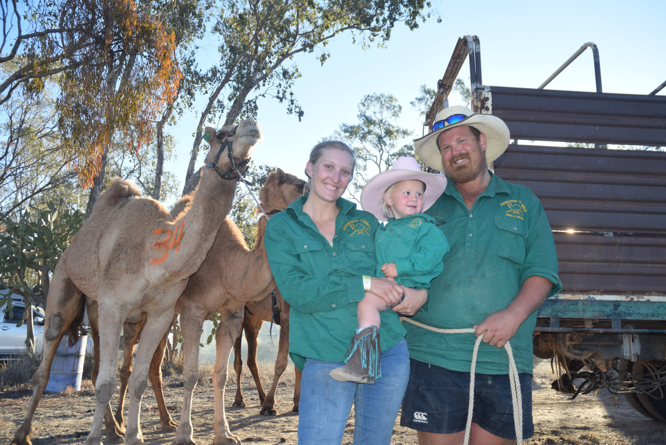 RACING HEARTS: The Woodhouse family from Boulia with Gunner the camel took out the 400 metre cup final at the Tara Festival of Culture and Camel Races over the weekend.