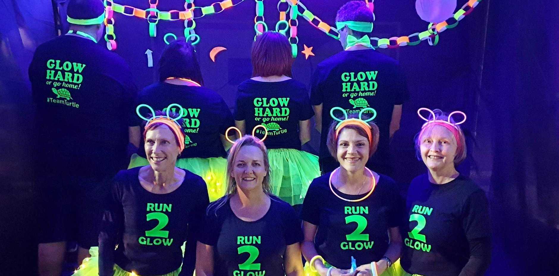 GLOW UP: Helen Ellis, Karen Nitz, Pauline Hyde, Yvette Iturbe were some of the members of #teamturtle - the best-dressed team in the event, according to one organiser Dawn Mansfield.