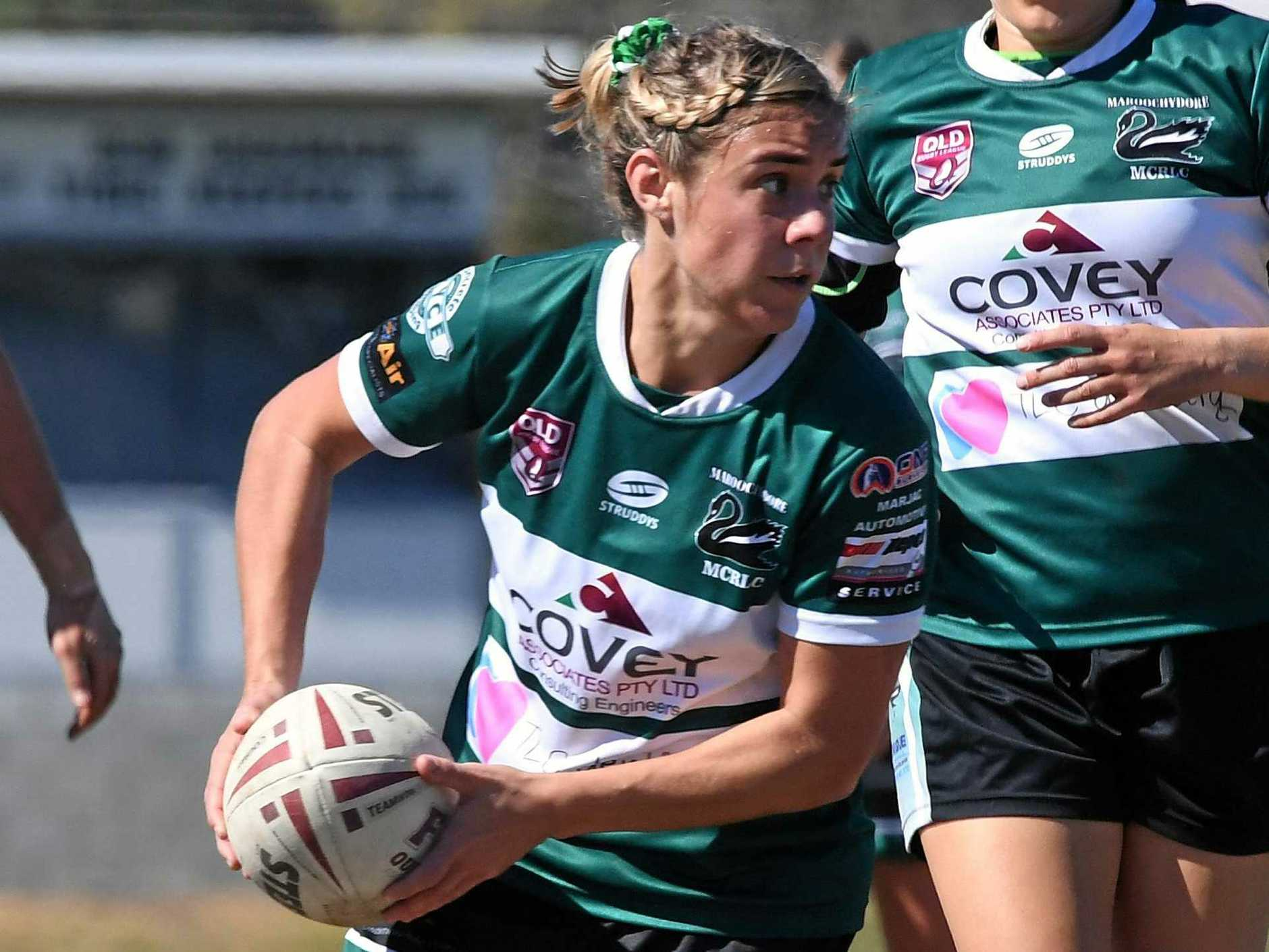 STRONG: Maroochydore will battle Gympie in the women's grand final on Sunday at Sunshine Coast Stadium. Pictured is Maroochydore half back Codi Dalley in action during her side's win over Caboolture in the preliminary final.