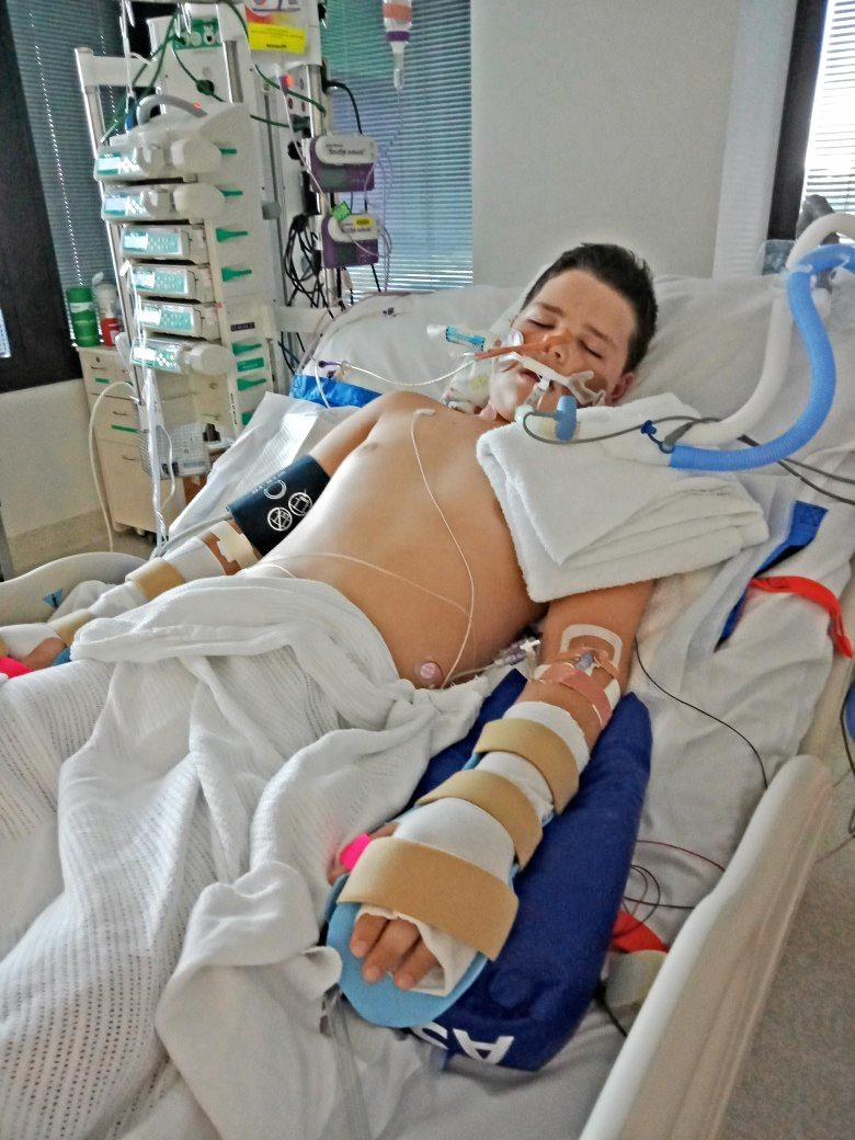 Christian Hermann in hospital last year with the rare nerve disease Guillain-Barre syndrome.