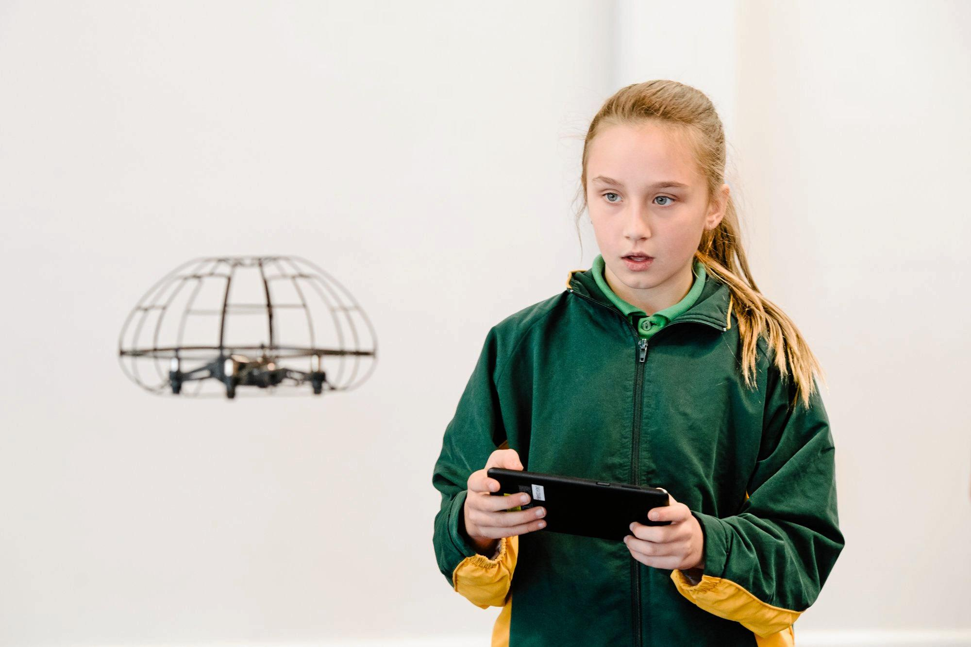 Ava Clark was a picture of concentration as she flew the drone.