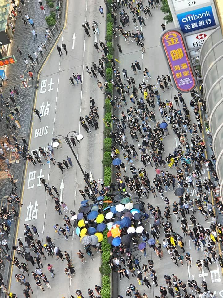 CAUGHT IN THE CROWD: Councillor, Helen Blackburn captured protesters lining the streets in Hong Kong.