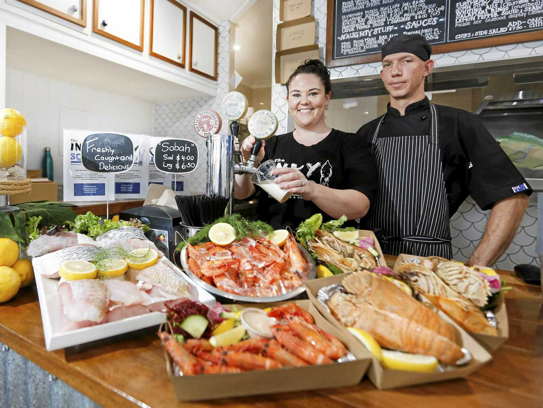 SEVENTH HEAVEN: Inky Squid at Terranora, owned by Jessica Price and Ben Jones, has been named the seventh-best fish and chip shop in NSW.
